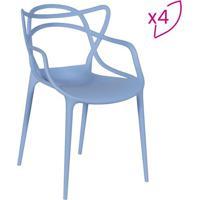 Jogo De Cadeiras De Jantar Solna- Azul- 4Pã§S- Oror Design