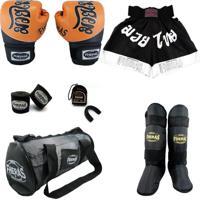 Kit Fheras Top - Luva Bandagem Bucal Caneleira Freestyle Shorts Bolsa - 14 Oz Tailandes 2