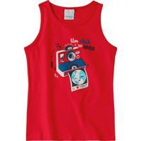 Blusa Vermelha Um Click Com Amor Em Cotton