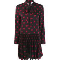 Red Valentino Vestido Com Estampa De Coração - Preto