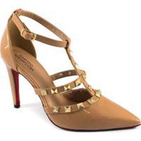 Scarpin Spikes Numeração Especial Sapato Show Feminino - Feminino-Nude