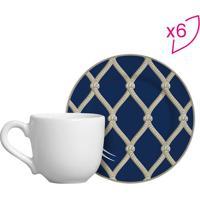 Conjunto De Xícaras De Café Rede- Azul Escuro & Bege Clascalla Cerâmica