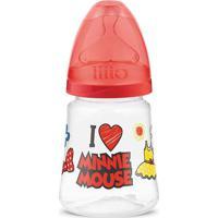 Mamadeira Transparente - 180Ml - Disney - Minnie Mouse - Vermelha - Lillo