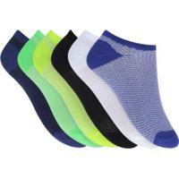 Kit De Meias Invisível Oxer Micro Fiber Kids Com 6 Pares - 27 A 33 - Infantil - Azul/Branco