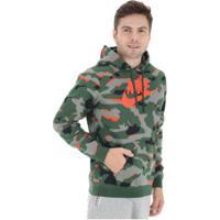 Blusão De Moletom Com Capuz Nike Hoodie Po Bbgx - Masculino - Verde Esc/Laranja