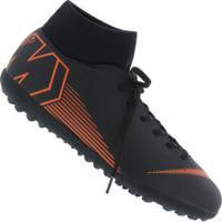 Chuteira Society Nike Mercurial Superfly X 6 Club Tf - Adulto - Preto/Laranja Esc