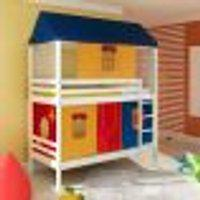 Beliche Infantil Teen Play Telhado Completo E Tenda Multicores Exclusivo - Branco Lavado - Casatema