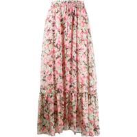 Pinko Saia Longa Com Estampa Floral - Rosa