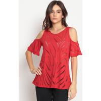 Blusa Com Recortes Vazados- Vermelha- Hidrogãªniohidrogenio