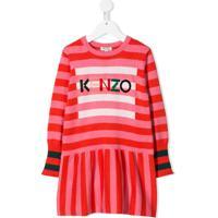 Kenzo Kids Vestido De Tricô Com Padronagem Listrada - Laranja