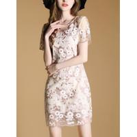 Vestido Curto De Renda Design Em Rosas - Rosa Claro G