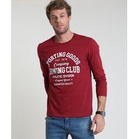 "Camiseta Masculina Sporting Goods"" Manga Curta Gola Careca Vinho"""