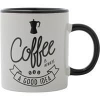 Caneca Coffee Branca E Preta 7,3X6,7X6,7 Cm