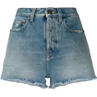 Saint Laurent Short Jeans Com Franjas Na Barra - Azul