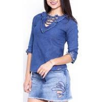Blusa Jeans Feminina Sol Jeans Manga 3X4 Moda 628 - Feminino-Azul