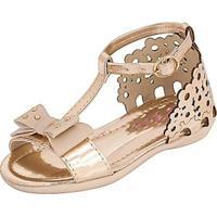 Sandália Infantil Plis Calçados Florzinha Feminina - Feminino-Dourado