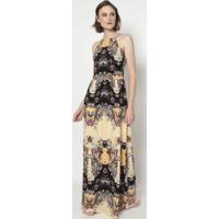 Vestido Floral- Coral & Bege- Linho Finolinho Fino
