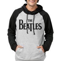 Moletom Raglan Bandup! Bandas The Beatles Logo Com Capuz Mescla E Preto