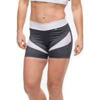 Short Power Gym Sandy Fitness - Feminino-Cinza+Branco