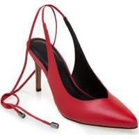 Sapato Morena Rosa Chanel Com Amarração Vermelho
