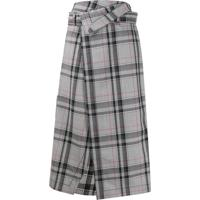 3.1 Phillip Lim Checked Wrap Midi Skirt - Cinza