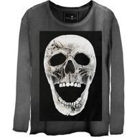 Camiseta Estonada Manga Longa Skull Fright