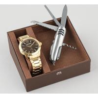 Kit De Relógio Analógico Mondaine Masculino + Canivete - 83420Gpmvde3K Dourado - Único