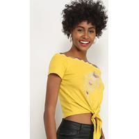 Blusa Lily Fashion Com Aplicação Feminina - Feminino-Amarelo