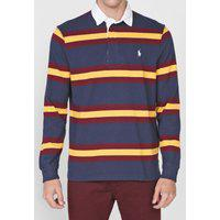 Camisa Polo Polo Ralph Lauren Reta Listrada Azul-Marinho/Vinho