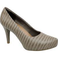 Sapato Meia Pata Em Couro Texturizado - Bege Claro & Marusaflex