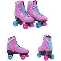 Patins Infantil 4 Rodas Feminino Quad Roller E Skate Rosa 37-38