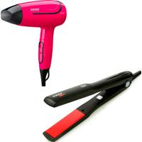 Secador Cabelo Arno Nomad Bivolt + Chapinha Taiff Red Ion