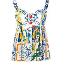 Dolce & Gabbana Blusa Com Estampa Maioliche - Azul