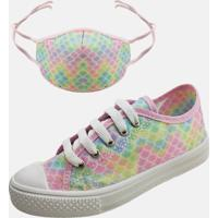 Kit Infantil Tênis Colegial E Máscara Mz Shoes Escamado Sereia