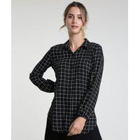 Camisa Feminina Estampada Quadriculada Manga Bufante Preta