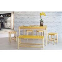Sala De Jantar Gourmet De Madeira Maciça Taeda Natural Com Tampo Colorido Olga - Verniz Natural/Amarelo 120X80X75Cm
