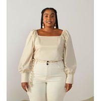 Blusa Em Tricoline Curve & Plus Size Bege