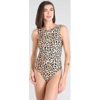 Maiô Body Feminino Estampado Animal Print Sem Bojo Com Proteção Uv50+ Preto