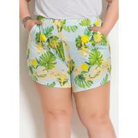 Short E Faixa De Cabelo Floral Plus Size
