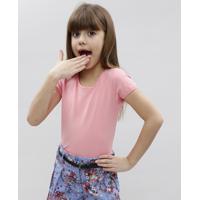 Blusa Infantil Básica Manga Curta Decote Redondo Rosa