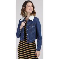 Jaqueta Jeans Feminina Cropped Com Pelo E Bolsos Azul Escuro