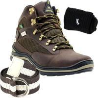 Kit Bota Adventure Atron Shoes Couro + Cinto E Meia Lupo - Feminino