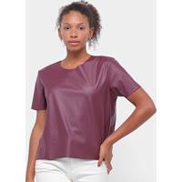 Blusa Aura T-Shirt Couro Feminina - Feminino-Vinho