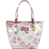 Bolsa Shopper Estampa Maquiagem- Branca & Rosa- 22,5Jacki Design