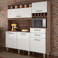 Cozinha Compacta Smart 5 Pt 2 Gv Branca E Nogal
