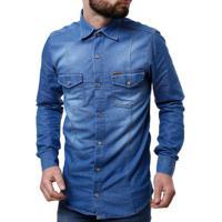 33b0253a0f Camisa Jeans Manga Longa Masculina Azul Claro