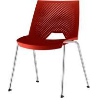 Cadeira Strike Assento Vermelho Base Cromada - 54065 - Sun House