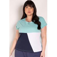 Blusa Tricolor Com Recortes Plus Size