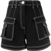Balmain Bermuda Jeans Com Cintura Alta - Preto