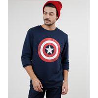 Blusão Masculino Capitão América Em Moletom Felpado Azul Marinho